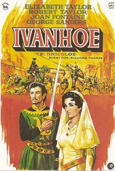 COLECCIÓN DE CARTELES ANTIGUOS DE CINE- Ivanhoe 1952, con Robert Taylor y Elizabeth Taylor