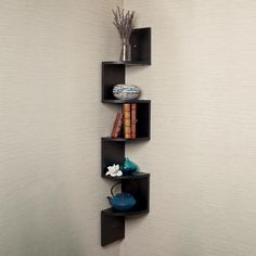 Houseables Corner Wall Book Shelf 5 Tier Black Floating Side Zig Zag Bookshelf x x Wood Storage Shelves Small Narrow Decorative for Decor Display CD Toy Photo Award Mount Large Corner Shelf, Wall Mounted Corner Shelves, Wall Bookshelves, Display Shelves, Storage Shelves, Shelf Wall, Wood Storage, Display Wall, Storage Rack
