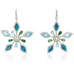 Eden Presley 14K White Gold Multi-Stone Earrings ($4,856) ❤ liked on Polyvore featuring jewelry, earrings, blue, 14 karat gold jewelry, blue earrings, multi stone earrings, flower jewelry and 14k white gold earrings