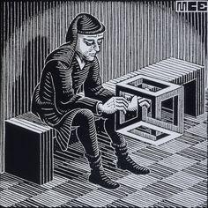 Man With Cuboid - MC Escher, 1958 http://www.cavetocanvas.com/tagged/mc+escher