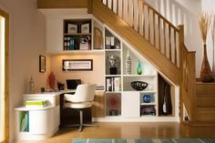 Home Decor Under Stairs ; Home Decor Under Stairs - New Ideas Staircase Storage, Stair Storage, Staircase Design, Grand Staircase, Office Storage, Office Under Stairs, Space Under Stairs, Interior Design Under Stairs, Home Office Design