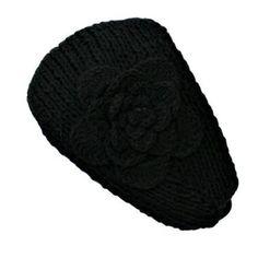 Black Knit Ear Warmer W/Flower