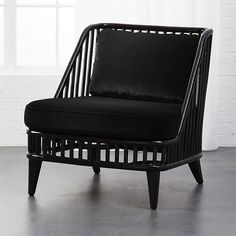 Black rattan chair with velvet cushions #RattanChair