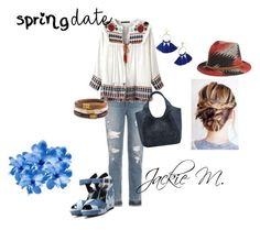 """""""Spring Date"""" by jackie-mallet ❤ liked on Polyvore featuring Joe's Jeans, Roger Vivier, M&Co, Chico's, BaubleBar, San Diego Hat Co. and chic"""