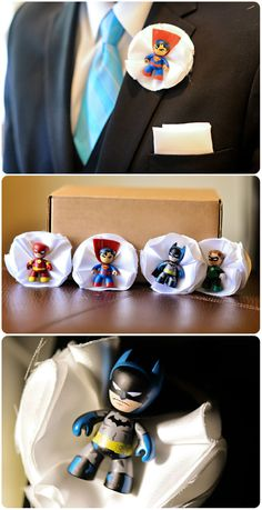 Superhero groom and groomsmen boutonnieres