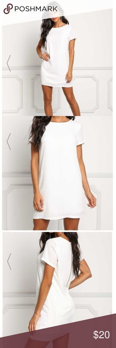 Off White Boxy Shift Dress Love, basically! A chic shift dress in a woven bodice solid all throughout. Features a t-shirt silhouette with a round neckline and short sleeves. Detailed with a back zipper closure, fully lined, has a boxy silhouette and above the knee length. Looks amazing with hoop earrings and clog heels! Love Culture Dresses