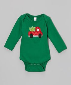 Another great find on #zulily! Green Christmas Truck Bodysuit - Infant by Petunia Petals #zulilyfinds
