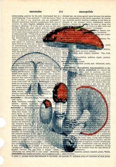 Mushrooms Red dictionary book page collage art door Txalteredart
