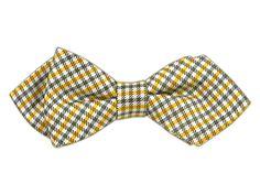 Mini Madras - Yellow/Gray (Diamond Tip Bow Ties)