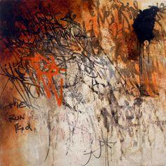 José Parlá:Run Kid 2003, 4 x 4 feet acrylic, oil paint, plaster and ink on wood
