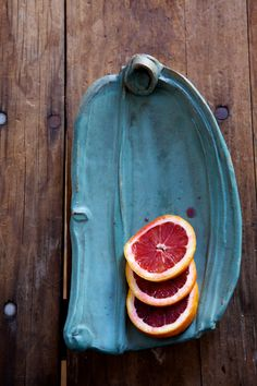 blood oranges and turquoise dish