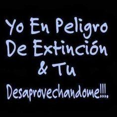 Yo en peligro de extinción y tú desaprovechandome!!