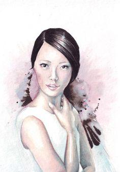 Original watercolor Portrait painting art HM010