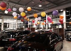 Creative & professional UK-based services for stylish private & corporate events. Hanging Banner, Hanging Lanterns, Paper Lanterns, Funky Lighting, Bar Lighting, Mercedes Benz Retail, Glass Candelabra, Elegant Centerpieces, Dinner Themes