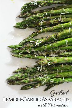 Grilled lemon-garlic asparagus with Parmesan cheese. Grilled asparagus takes only 8 minutes until perfectly charred.