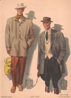1951 Shows two men in hats and coats, dressed for a day in the country  From CollectorsPrints.com