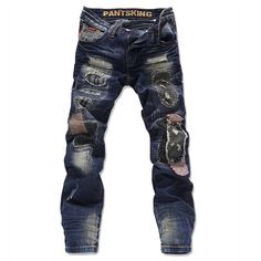 89.69$  Buy now - http://alifcz.worldwells.pw/go.php?t=32454585785 - high quality fashion ripped jeans for men skinny denim overalls blue color size 28-36 JPPK6810 89.69$