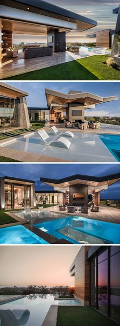 The living room of this modern house opens up to the backyard and swimming pool. The angled roof line stands out above the outdoor lounge that's focused on the fireplace. There's also a swimming pool that looks out to the view, and within in the swimming pool is a window into the basement. #SwimmingPool #OutdoorFireplace #Architecture