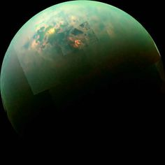 This picture shows the sun reflecting off the sea on Saturn's moon Titan.