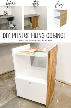 BEFORE & AFTER - Do It Yourself project and storage solution in the home office. I combined a printer stand and filing cabinet and put it on wheels. Easy build and looks awesome tucked away in a master bedroom home office.