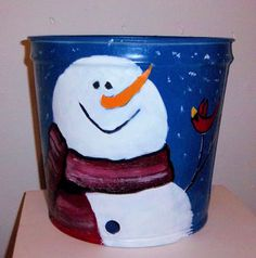 Snowman and Bird Hand Painted Maple Syrup Sap Bucket