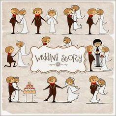Wedding Couple in Cartoon: Free Printable Scrapbook Kit.