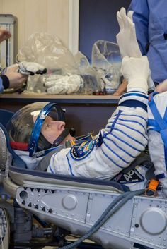 ESA astronaut Tim Peake testing his Sokol pressure suit and Soyuz spacecraft seat in Baikonur, Kazakhstan, in preparation for his launch to the International Space Station on 15 December.Space in Images - 2015 - 12 - Tim launch test
