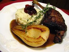 Duck Leg with Pear, Craisin and Balsamic Sauce