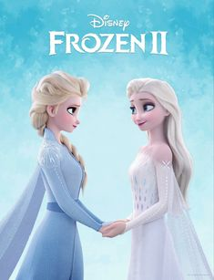 Frozen 2 picture of Elsa in white dress holding hands with Elsa from the beggini. - Frozen 2 picture of Elsa in white dress holding hands with Elsa from the beggining of the movie Imá -