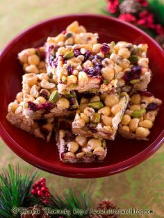 Christmas Popcorn Bars - vegan