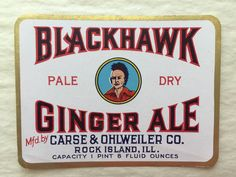 Vintage 1930's Unused Blackhawk Ginger Ale Label - Product Label, Ephemera, Collectibles - Perfect to Frame for Kitchen or Mancave!