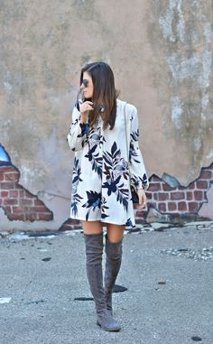 Easily Suede | Free People tunic floral dress, Stuart Weitzman over the knee grey suede boots, Ray-Ban purple mirrored sunnies, Furla mini bag, spring fashion, spring outfit ideas, march outfit, nyc street style, fashion blogger #tobebright