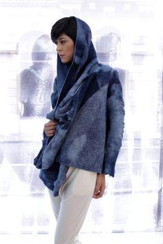 Blue Wool Jacket Oversized Cardigan Felted by AnaLivniSlowFashion