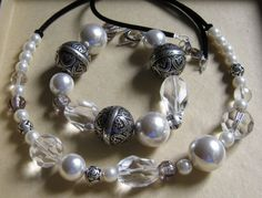 Necklace and bracelet - false pearls, crystals and metal beads