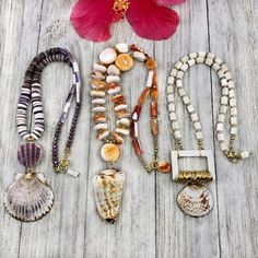 High Tide DIY Necklaces   Halcraft Collection - Owners & Creators of Bead Gallery™ Stretch Bracelets, Beaded Bracelets, Necklaces, Diy Necklace Designs, Purple Dye, Chain Nose Pliers, Shell Pendant, Diy Jewelry Making, Beach Jewelry
