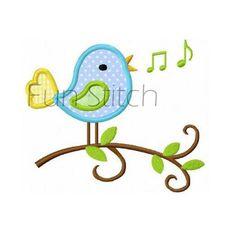 Singen Vogel Applikation Stickerei von FunStitch auf Etsy