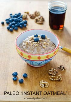 """Paleo """"instant oatmeal""""  1 bowl, 5 ingredients, 5 minutes. It's gluten-free, grain-free, dairy-free, and refined sugar-free. 