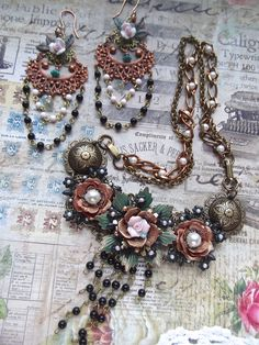 Mixed MetalMania 1/1/16 brass ox, old rose ox, French gingerbread patina and matte black brass, the old Green copper plating, bracelet/necklace with matching earrings almost everything from B'Sue except the rosary chain and 2 Swarovski pearls. www.mockidesigns.etsy.com