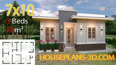 House Design with 3 Bedrooms Terrace Roof - House Plans House Design with 3 Bedrooms Te House Design 3d, Simple House Design, Bungalow House Design, House Front Design, Small House Floor Plans, Simple House Plans, Dream House Plans, Modern House Plans, Flat Roof House