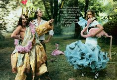 Vogue US (December 2003): Alice in Wonderland - John Galliano (The Queen of Hearts) and Alexis Roche (The King)