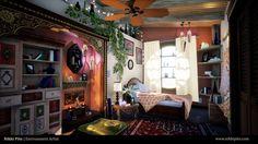 Boho Bedroom, Nikki Pito on ArtStation at https://www.artstation.com/artwork/e1d8D