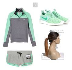 """Pink run"" by rikey-byrnes on Polyvore featuring NIKE, women's clothing, women, female, woman, misses and juniors"