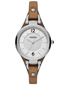 Fossil Watch, Women's Georgia Brown Leather Strap 32mm ES3060 - All Watches - Jewelry & Watches - Macy's