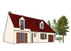 Modèle PC-23  Pavillon avec garage comprenant cuisine, séjour, bureau, WC au rez-de-chaussée. 3 chambres, salle de bains à l'étage.  Surface Habitable : 95,68m²
