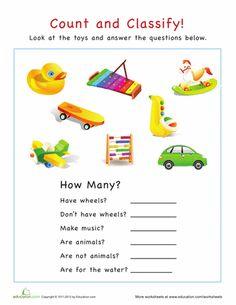 Worksheets: Categorization: How Many Toys?
