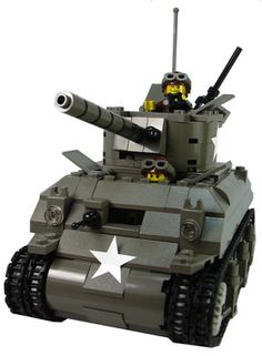 Custom Lego Military Vehicle Model Set For Soldier Minifigures Sherman M4A1 Tank