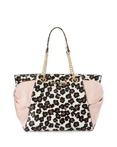 V36WN Betsey Johnson Hotty Pocket Bow Tote Bag, Leopard