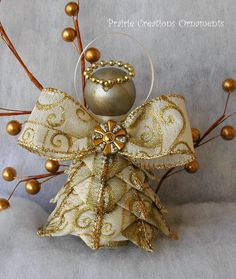Angel Quilted Ornament Gold Swirls Joy by MyPrairieCreations
