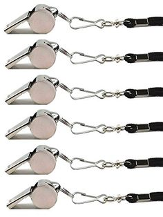 Blovess Stainless Steel Loud Sport Coach Emergency Whistles with Lanyard, Pack of 6 Blovess http://www.amazon.com/dp/B00ZR67O0Q/ref=cm_sw_r_pi_dp_8iMrwb062J61M