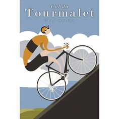 The legendary Col du Tourmalet has been made famous in many Tour de France stages as it puts riders to the test racing from Pau to Hautacam. Michael Valenti's drawing celebrates the famous 2115 meter hors catégorie climb with old school style and grace. As our rider ascends into the clouds we can only wonder what this grueling road must be like in the heat of competition.